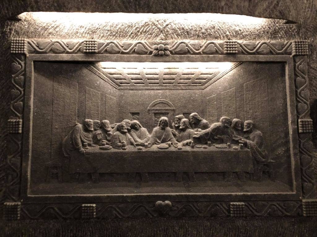 The Last Supper carving in St Kinga's Chapel in the Wieliczka Salt Mine